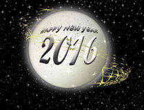 Happy New Year 2016 on planet background. Happy New Year 2016 metallic planet background Stock Photo