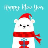 Happy New Year. Polar white bear cub face holding gift box present. Red Santa hat, scarf. Cute cartoon baby character. Merry royalty free illustration