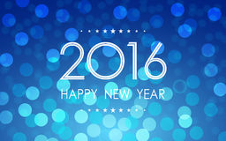 Happy new year 2016 with polka dots and lens flare pattern on blue background. Happy new year 2016 with polka dots and lens flare on blue background stock illustration