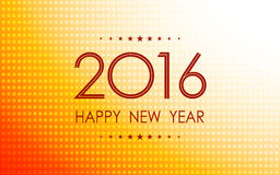 Happy new year 2016 in polka dots pattern on summer orange background Stock Photography
