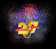 Happy New Year 2017 polygonal and Firework Royalty Free Stock Photos