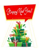 Happy new year post card greeting party invitation , lot many gift boxes of gifts stack triangle stand christmas tree form with ri. Bbon bow, callygraphy text royalty free illustration