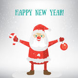 Happy New Year post card template. Vector Illustration of Santa Claus. Stock Photos