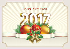 Happy New Year 2017. Postcard Happy New Year 2017 on a background of the sun's rays stock illustration
