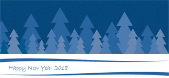 Happy new year 2018 postcard. Blue postcard vectorizing, happy new year 2018 Royalty Free Stock Image