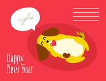Happy New Year postcard with cute dog dreaming about a bone on red background. Flat style royalty free illustration