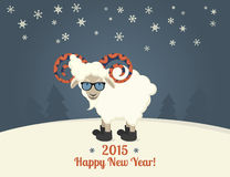 Happy new year postcard design. With sheep hipsterwearing glasses. Text outlined Royalty Free Stock Photo