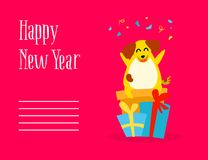 Happy New Year postcard with fun cartoon dog, gifts and confetti on red background. Flat style. Vector royalty free illustration