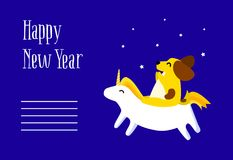 Happy New Year postcard with fun yellow dog and unicorn on blue background. Flat style. Vector stock illustration