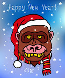 Happy New 2016 Year postcard with gorilla monkey in Christmas hat. Postcard with gorilla monkey in Christmas hat. Merry Christmas and Happy New 2016 Year Stock Photo