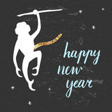 Happy New year postcard. Mokey with gold tail royalty free illustration