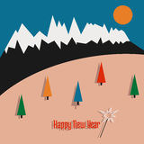 Happy new year postcard with mountains and tree Royalty Free Stock Photo