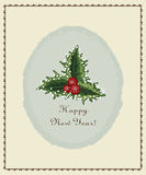Happy new year postcard old with oval decoration. And a sprig of Holly stock illustration