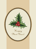 Happy new year postcard with an oval wooden frame and a sprig of Stock Photos