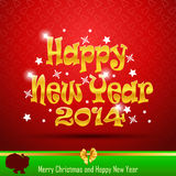 Happy New Year 2014 postcard and Santa Claus with. Abstract design of New Year 2014 and Merry Christmas and Santa Claus with bag on red background Royalty Free Stock Photography