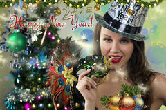 Happy New Year postcard. Stock Image