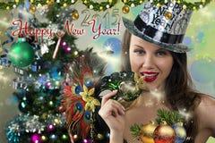 Happy New Year postcard. stock image