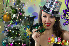 Happy New Year postcard. stock photography