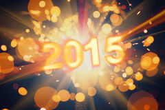 Happy new year 2015 postcard. With shiny sparklers particles vector illustration