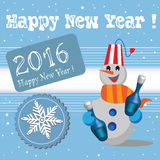 Happy New Year. New Year postcard with happy snowman holding two champagne bottles in his hands. New Year theme Royalty Free Stock Photo