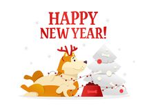 Happy New Year 2018 postcard template with the cute yellow dog lying near the Christmas tree on white background. The. Dog cartoon character vector illustration Stock Photography