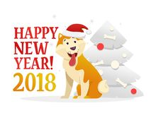 Happy New Year 2018 postcard template with the cute yellow dog sitting near the Christmas tree on white background. The. Dog cartoon character vector Stock Photography