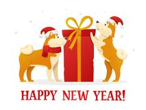 Happy New Year 2018 postcard template with two cute yellow dogs with the dig red gift on white background. The dog. Cartoon characters vector illustration Royalty Free Stock Photos