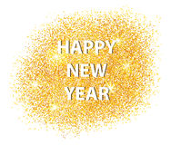 Happy New Year 2017 postcard on white background. Scattered gold. Can be used as golden background for New Year's party. Vector illustration Royalty Free Stock Photo