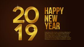 Happy new year poster background template with 3d gold number and dark background. vector illustration. Happy new year poster background template with 3D gold stock illustration