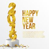Happy new year poster background template with 3d gold number and gift box open. vector illustration. Happy new year poster background template with 3D gold vector illustration