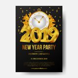 Happy new year poster background template with 3d gold number and golden classic clock. vector illustration. Happy new year poster background template with 3D stock illustration