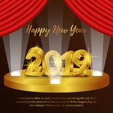 Happy new year poster background template with 3d gold number and red curtain. vector illustration. Happy new year poster background template with 3D gold number stock illustration