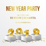 Happy new year poster background template with 3d gold number. vector illustration. Happy new year poster background template with 3D gold number and gold royalty free illustration