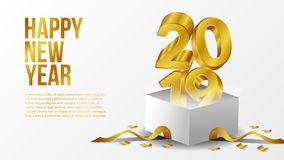 Happy new year poster background template with 3d gold number with open white box. vector illustration. Happy new year poster background template with 3d gold stock illustration