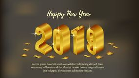Happy new year poster background template with isometric 3d gold number and gold confetti. vector illustration. Happy new year poster background template with stock illustration