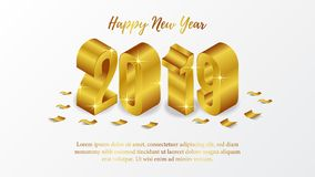 Happy new year poster background template with isometric 3d gold number. vector illustration. Happy new year poster background template with isometric 3D gold stock illustration