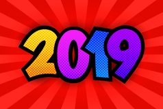 New Year 2019 poster. Happy New Year 2019 poster. Comic book style. Pop art bright background. Vector, isolated, eps 10 stock illustration