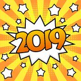 New Year 2019 poster. Happy New Year 2019 poster. Comic book style. Pop art bright background. Vector, isolated, eps 10 royalty free illustration