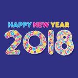 Happy new year 2018 poster design. Creative happy new year 2018 poster design by colorful gear Stock Photo
