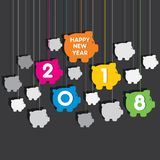 Happy new year 2018 poster design. Creative new year 2018 greeting design using hanging piggy bank pattern Royalty Free Illustration