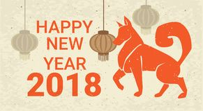 Happy New Year 2018 Poster Dog And Chinese Lanterns Holiday Card With Zodiac Symbol Stock Photography