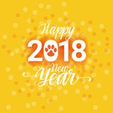 2018 Happy New Year Poster With Dog Paw Sign Abstract Greeting Card Background Stock Photos