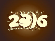 Happy 2016 new year poster with fiery monkey and babana. Happy 2016 new year poster with fiery monkey and babana silhouette Stock Image