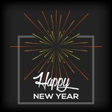 Happy new year. Poster with fireworks, Vector illustration Royalty Free Stock Images