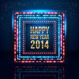 Happy New Year 2014 poster with frame made of ligh Stock Photos