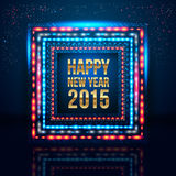 Happy New Year 2015 poster with frame made of lights. Stock Photos