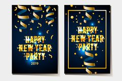 Happy new year poster 2019, gold and black colors place for text Christmas, streamers and confetti, vector illustration stock photography