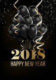 Happy New Year 2018 Christmas ball balloon decoration confettti vector golden background. Happy New Year 2018 poster or greeting card of Christmas balls balloon Royalty Free Stock Photography