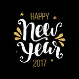 Happy New Year 2017 poster. Greeting card. Hand lettering in golden and black colors. Trendy typography design. Modern calligraphy. Holiday vector illustration Stock Photo