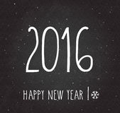 2016 Happy New Year poster. Handwritten Happy New Year retro label on black board Stock Image
